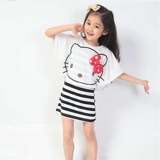 summer new model kids clothes girls clothing sets hello