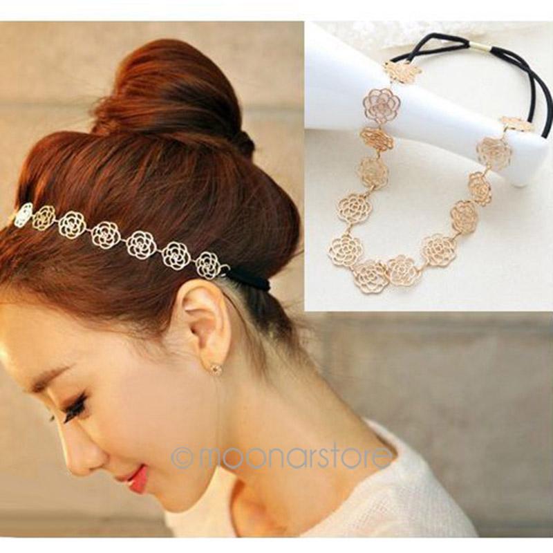 Fashion New Lovely Metallic Lady Hollow Rose Flower Elastic Hair Head Band Headband Headwear Accessories Free Ship(China (Mainland))