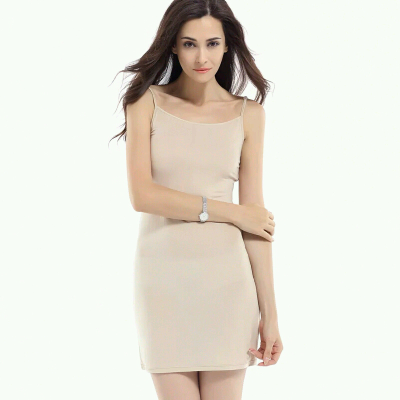 100% pure REAL SILK soft knitted strape women solid nude white basic style slip dress Anti emptied FULL slips new underwear(China (Mainland))