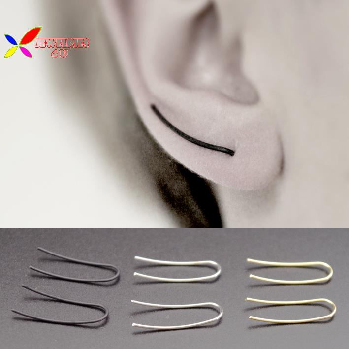2015 hot punk fashion designer simplicity gold silver black copper stick piercing earring for women bijoux brincos(China (Mainland))