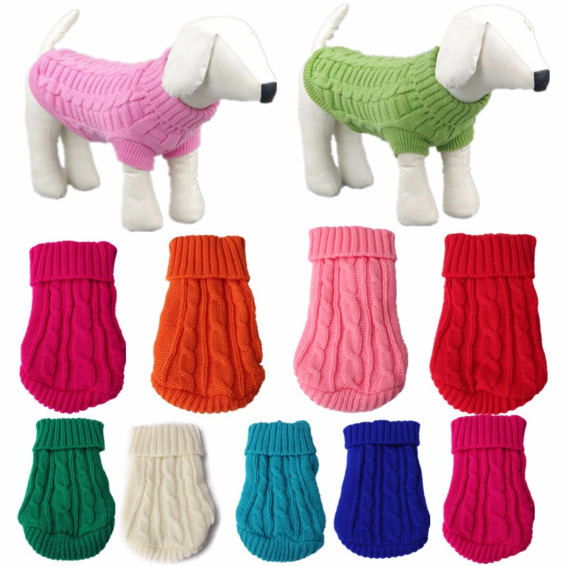 Puppy Cat PetWarm Sweater Pet Dog Dog Clothes Knit Winter Apparel Dog 8 Color 2 Size Solid Dog Coats Jackets(China (Mainland))