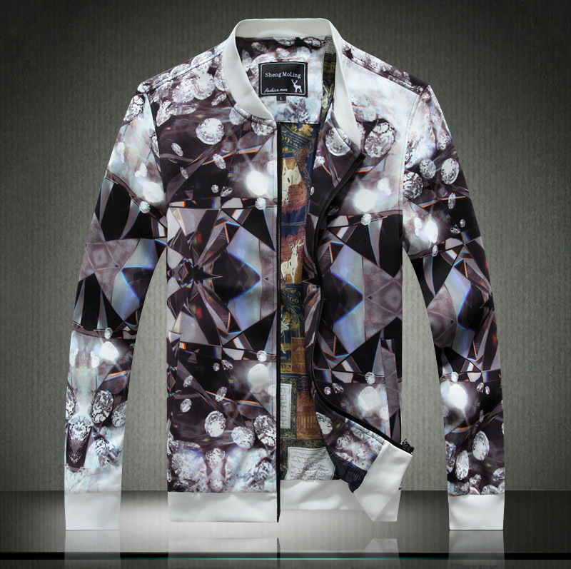 2014 fashion autumn and winter jacket reminisced male slim vintage royal flower outerwear male plus size
