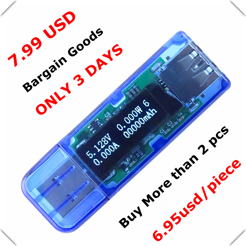 White 4 bit color OLED USB detector voltmeter ammeter power capacity tester meter voltage current usb power bank charger(China (Mainland))