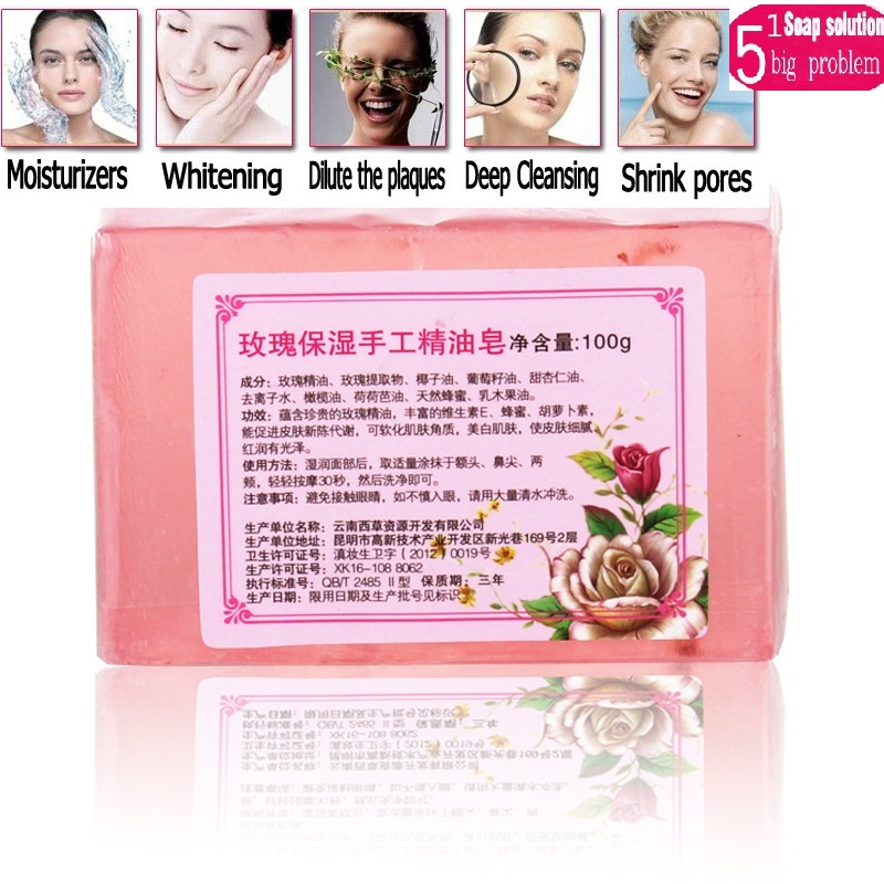 Wholesale price 10pcs Wild rose essential oil soap face soap handmade soap full-body whitening soap rejuvenation Free Shipping<br>