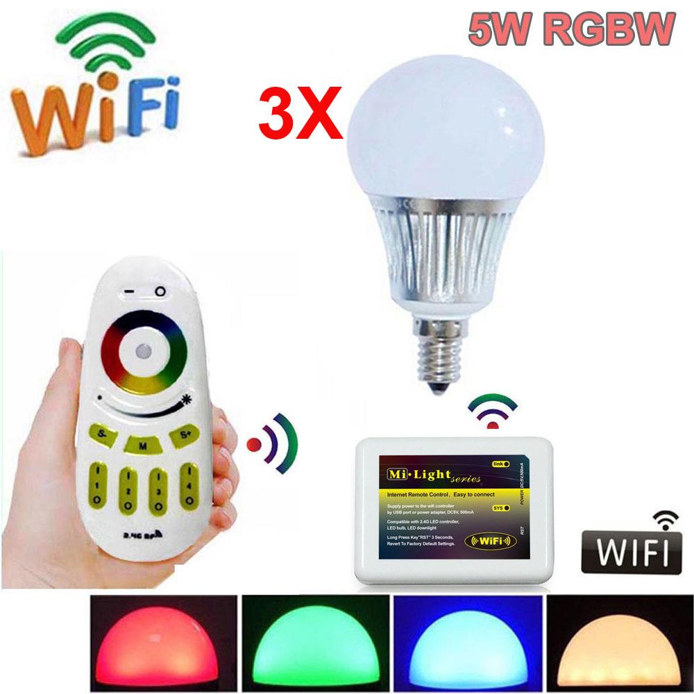 Mi.Light 2.4G RGBW Warm LED Bulb light E14 5W + 4pcs 4-Zone RF Touch Remote + Adapter Phone WiFi<br><br>Aliexpress