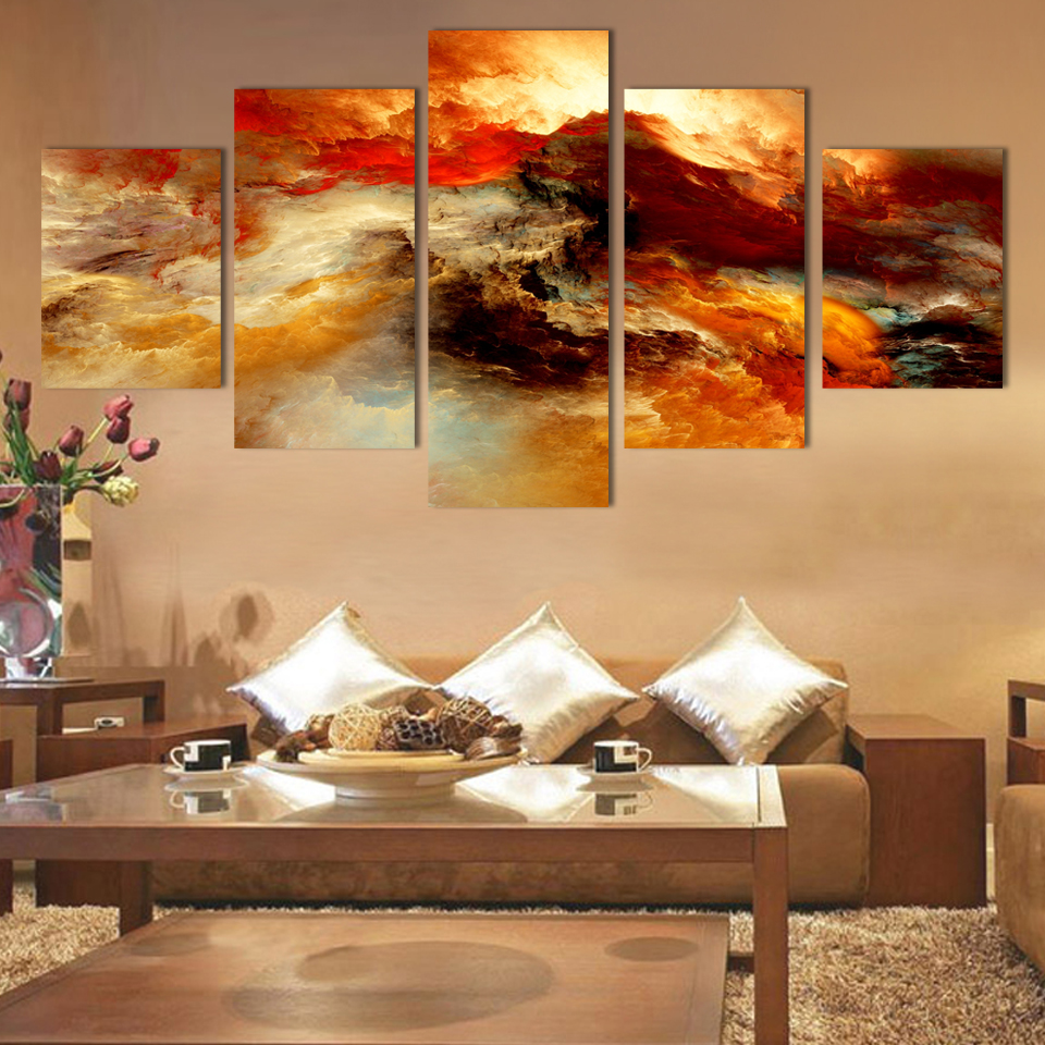 5 pieces unframed wall art picture gift home decoration for Home decoration pieces