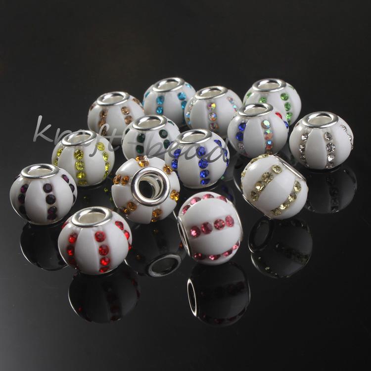 wholesale 100Pcs  Sliver Big Hole Mixed  Classic Resin Bead European Beads Fit Pando ra Charm Bracelet Bangles Necklace<br><br>Aliexpress