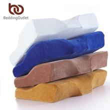 BeddingOutlet Butterfly Velvet Pillow Neck Pillows for Sleep Memory Foam Travel Cushion 4 Colors 30cmx50c almohada viaje(China (Mainland))