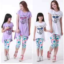 2016 Summer Mother Daughter Clothing Baby Girls Sets Next Casual Mickey Cat Cotton Beach Wear T-shirt And Pant Cartoon Short(China (Mainland))