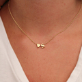 Hot 26 Letter Heart shaped Charm Pendant Necklace Women Simple Necklace Lovers Gift Gold Plated Initial