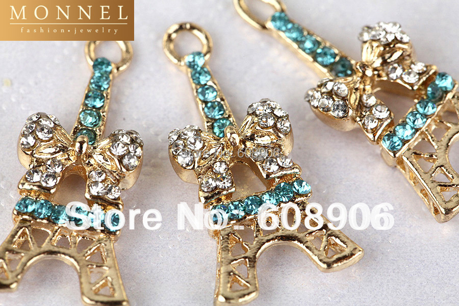 Здесь можно купить  H30 Cute Blue Crystal La Tour Eiffel Paris Tower Charm Pendant Wholesale (3pcs)  Ювелирные изделия и часы