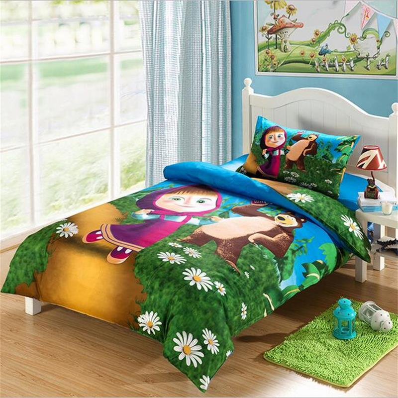 Masha and Bear Kids Bedding Set Pure Cotton Duvet Cover Single Bed Sheets Pillowcase Children Cartoon Bedroom Textile Sets 3pcs(China (Mainland))