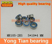 Free Shipping High quality 10PCS MR105-2RS ABEC-5 5x10x4 mm Miniature Ball Bearings MR105RS L1050