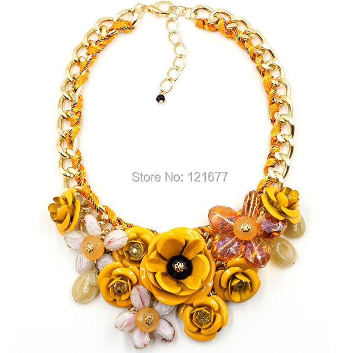 Hot Sale Big Pendants Transparent Resin Crystal Red Blue Green Pink Flower Vintage Choker Statement Necklace Fashion Jewelry(China (Mainland))
