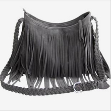 Popular New Women Handbag Tassel Cross Body Bag Solid Color Zipper Shoulder Bags Leather Handbags for female Free Shipping(China (Mainland))