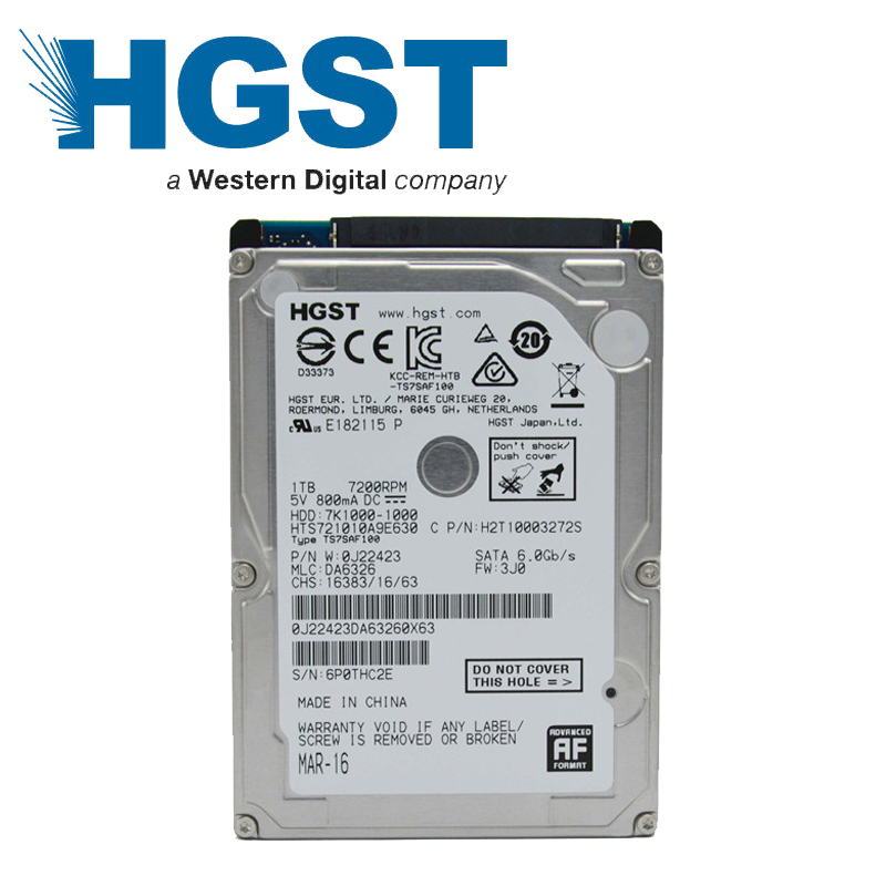 HGST 1TB 1000GB HDD laptop notebook hard disk drive SATA3 SATA III 7200rpm 32M 2.5 inch 9.5mm single plate HTS721010A9E630(China (Mainland))