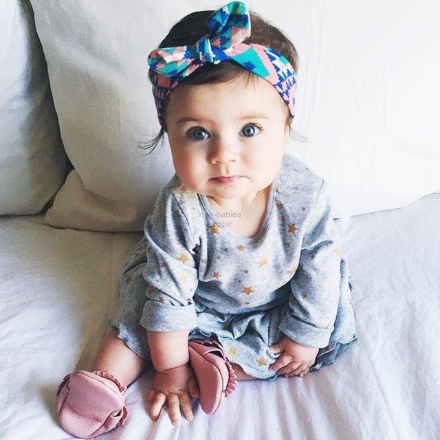 Новая девочка тюрбан топ узел печатных повязка на голову мода уши с бантом Hairband ...