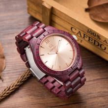 Relojes de madera naturales para hombre relojes analógicos de cuarzo hechos a mano de nogal sándalo Casual reloj de pulsera 1001 UWOOD marca de lujo reloj de madera para hombre(China)