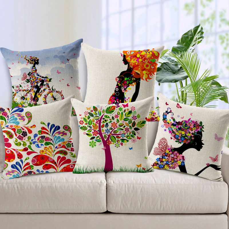 Fashion Simple Cotton Linen Cushion Cover Colorful Tree and Charming Woman Pattern Chair Waist Pillowcase Throw Pillow Cover(China (Mainland))