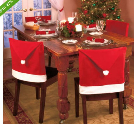 New 2 pcs / lot Santa Clause Red Hat Chair Back Covers for Christmas Dinner Decor NewParty Supply Favor(China (Mainland))