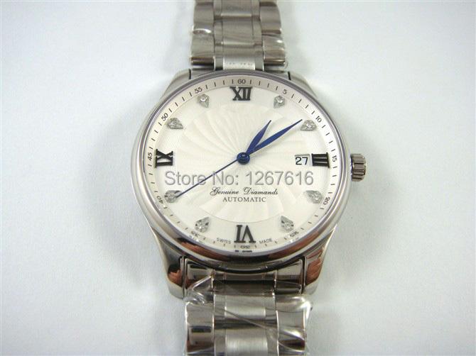 The new 2014 high fashion men automatic mechanical watches eight diamond white dial steel bracelet silver bezel calendar!(China (Mainland))