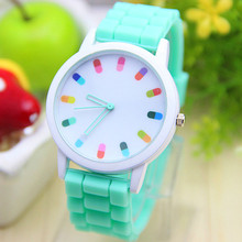 12 colors Ladies Watch Classic Gel Crystal Jelly Silicone Geneva watch 1pcs/lot