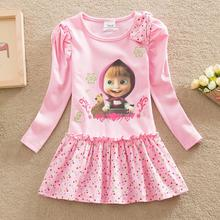 NEAT 2016 Baby girl clothes lovely pink pattern cotton girl dress round collar of cartoon characters kids dress for girl H5306(China (Mainland))