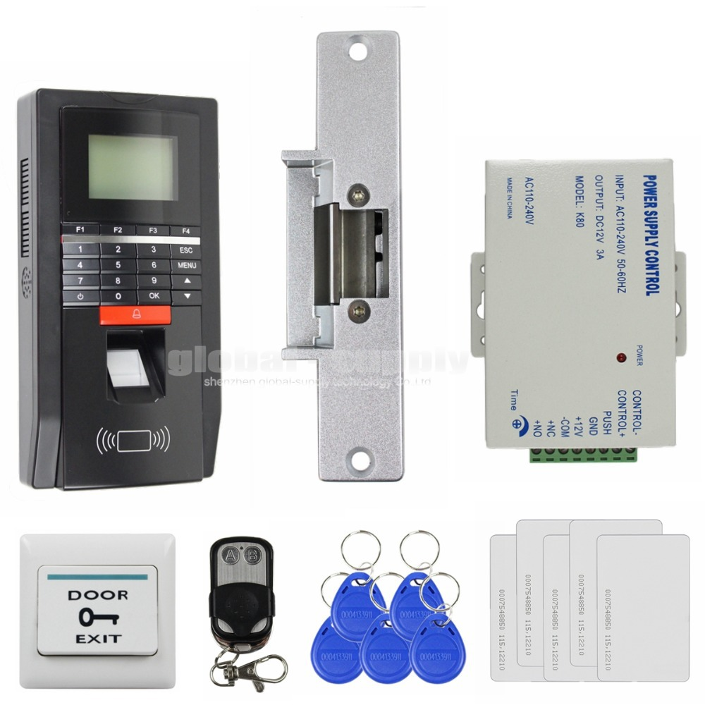 DIY Full Complete LCD Fingerprint And Id Card Reader Password Keypad Door Access Control System + Strike Lock + Remote Control(China (Mainland))