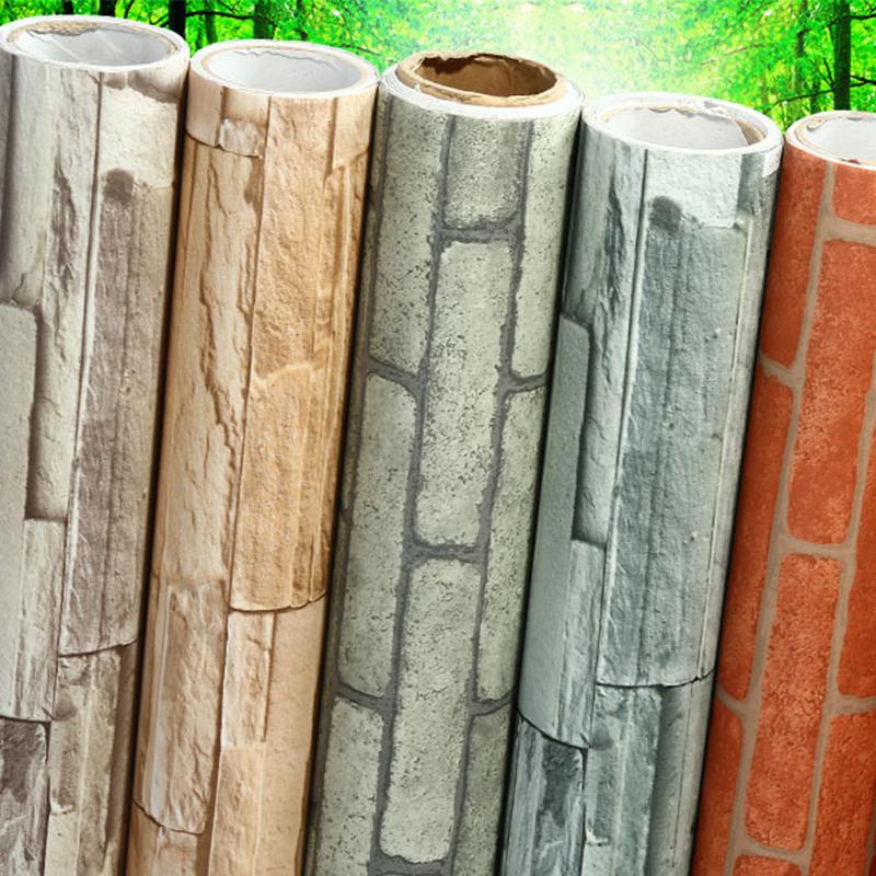5m roll 6 style dark red papier peint realistic real brick for Decoller papier peint vinyl