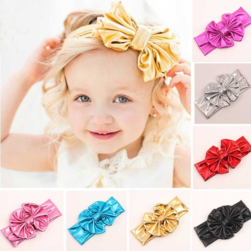 2015 Hot sell Lovely Messy Girls Kids Baby Big Bow Elastic Hairband Headband Turban Stretch Knot Head Wrap Headwear For Children(China (Mainland))