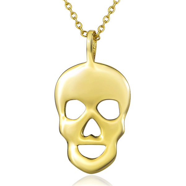 Cute Skeleton Pendant Design 100% Real 18K Gold Solid 925 Sterling Silver Statement Necklace GNX8744(China (Mainland))