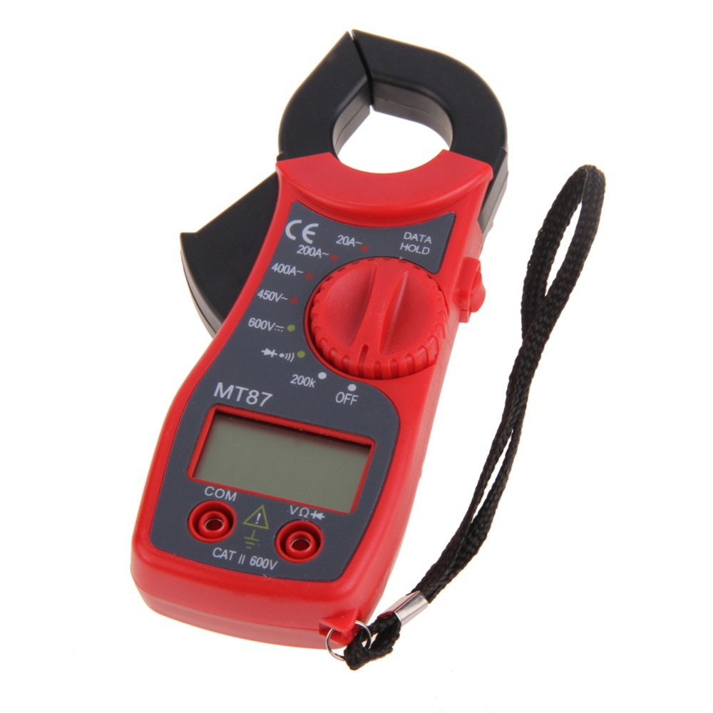 Hot Sale Red Digital LCD Clamp Multimeter Voltmeter Ammeter Ohmmeter Volt Tester high quality BS1V Free