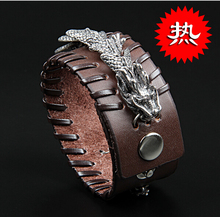 2015 New Punk luxury men genuine leather dragon bracelet fashion cowhide bracelet jewelry for men women casual jewelry Free ship
