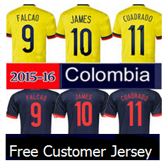 Colombia soccer jersey,Thai 2015 2016 home away FALCAO Colombia jersey 15 16 JAMES RODRIGUEZ Colombia football shirts women(China (Mainland))