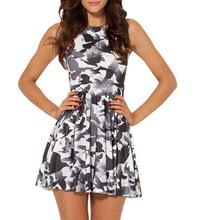 1033 Fashion Women's 3D printing bird crow prints elastic summer sexy Girl skater one-piece pleated dress