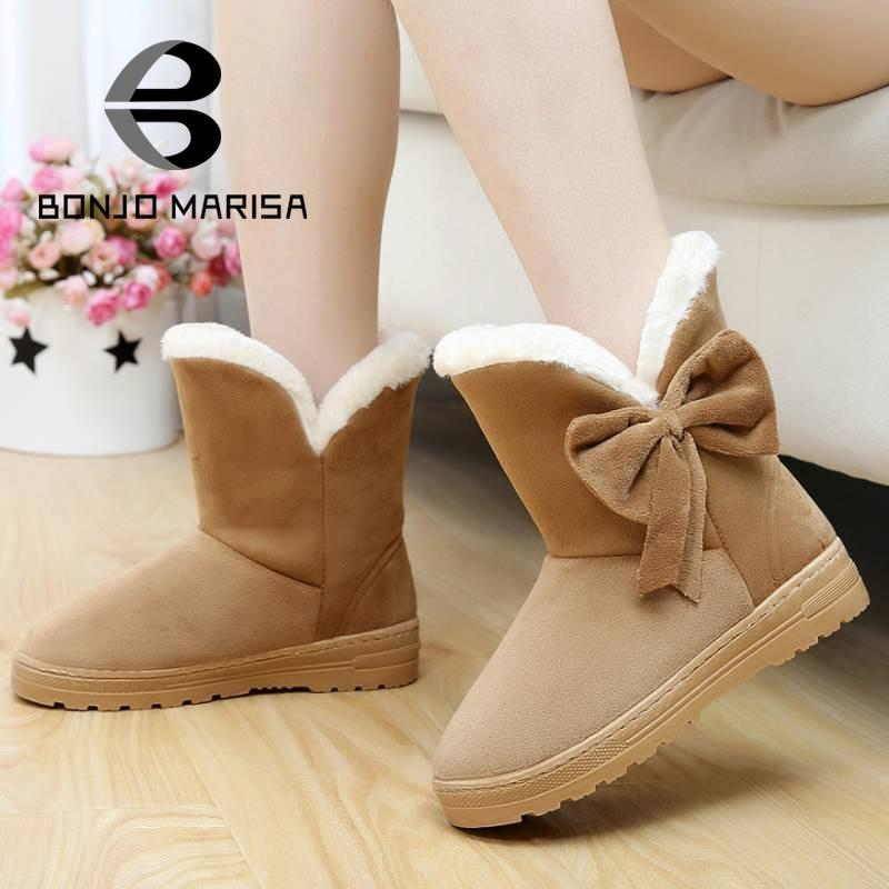 Women Snow Boots Warm Thick Fur Shoes Fashion Vintage Flat Heels Sweet Bow tie Shoes Round Toe Warm Winter Ankle Half Knee Boots
