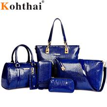 Kohthai 6 pcs Composite Bag Women Bag 2016 Vintage Shoulder Bag Women Purses And Handbags Brands Famous Leather FB230