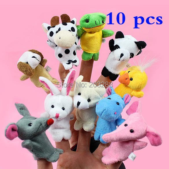 Hot Sales 10x Cartoon Biological Animal Finger Puppet Plush Toys Dolls Child Baby Favor Free shipping(China (Mainland))