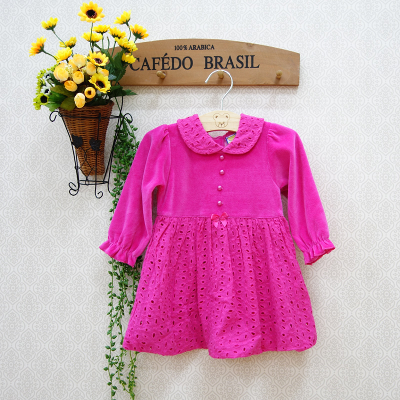 2016 velour newborn girl spring kidswear dress Children's Dresses cute child long sleeve brouse baby Xmas dress baby clothes(China (Mainland))