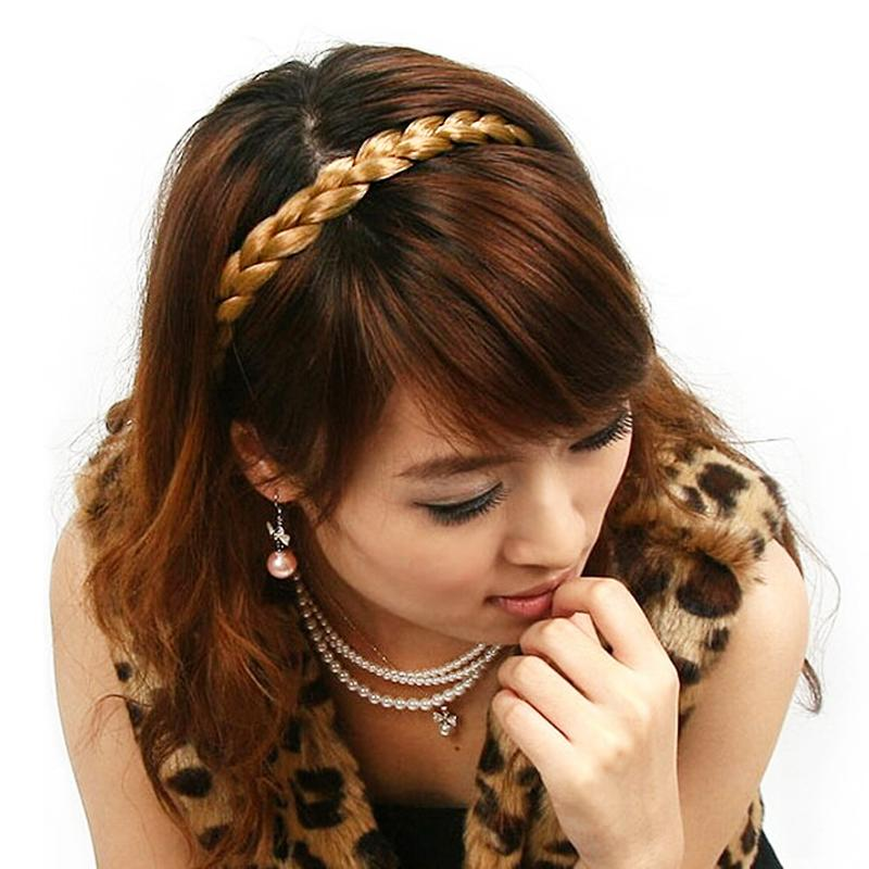 Wig headbands for women Fashion Brown Plait Braided Hair Band Headband Plaited Hair Accessories Wholesale(China (Mainland))