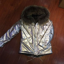 Sliver leather jacket grey fur lining short women coat Factory OEM item(China (Mainland))