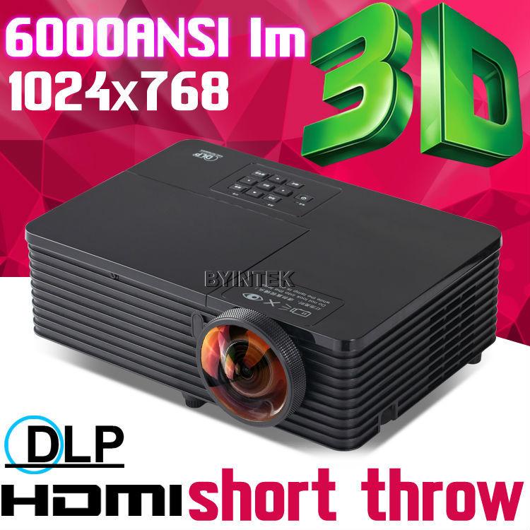 Проектор 6000ANSI USB HDMI 1080p HD 3D DLP Proyector BYINTEK проектор 5500ansi dlp 3d hd hdmi 1080p