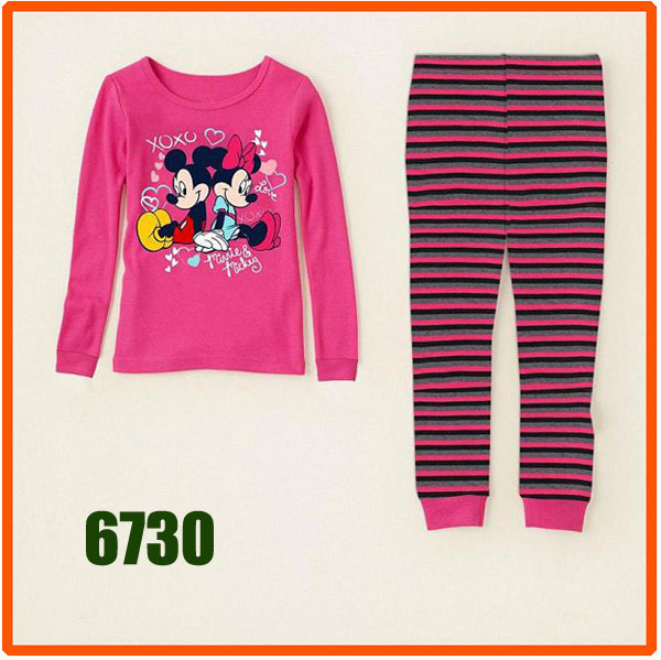 Girls Striped Minnie & Mickey Clothing Set Kids Autumn -Summer Pajamas Sets New 2013 Wholesale Children Cuddle Me Pijamas 6730