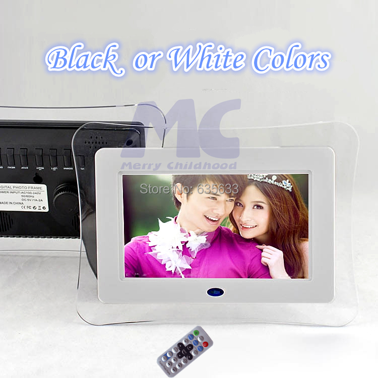 wedding frame 7 Inch Arc Black Acrylic Digital Frame Photo,support playing Mp3&Movie via usb or sd card by remote Christmas Gift(China (Mainland))