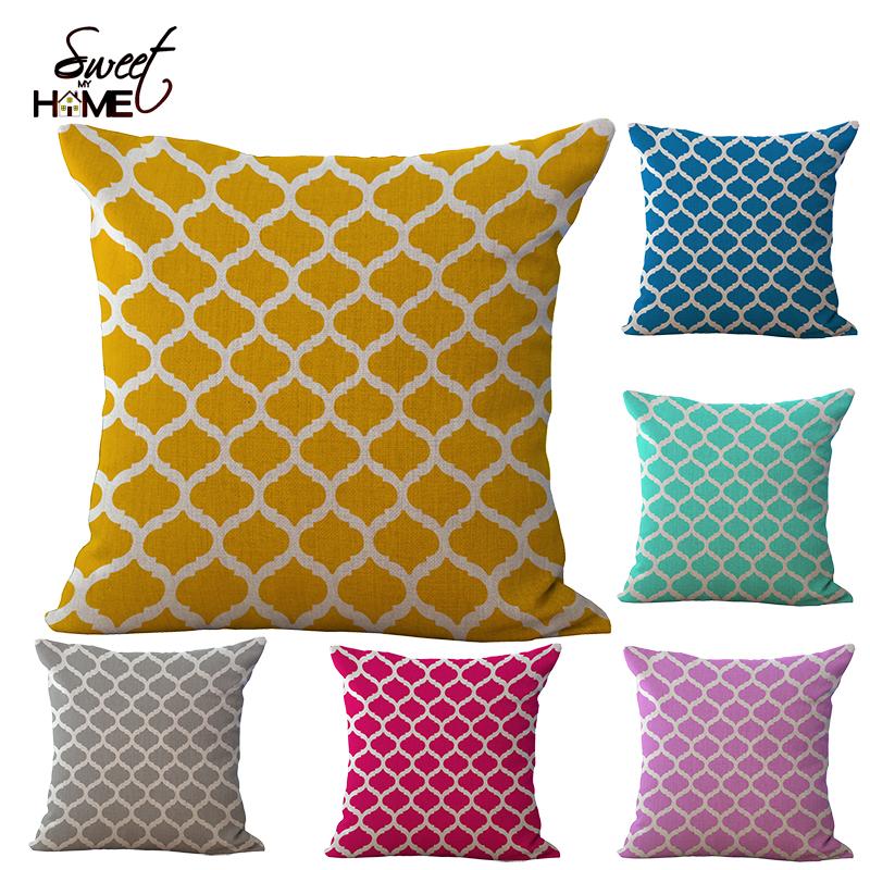 Cotton Linen Quatrefoil Accent Decorative Throw Pillows Square Sofa Pillow Covers Print Cushion Cover 18X18