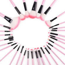 32pcs Woman Superior Professional Soft Cosmetic Makeup Lip Eyeshadow Eyelining Fan Powder Brush Set Pouch Makeup