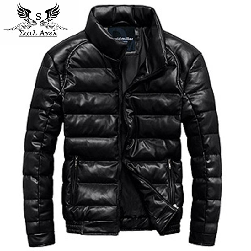 2015 winter jacket brand PU leather jacket men slim down jacket outdoor waterproof jacket down jacket collarОдежда и ак�е��уары<br><br><br>Aliexpress