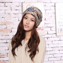 Hot Wholesale 2 Use Cap Knitted Scarf font b b font Winter Hats for Women Letter