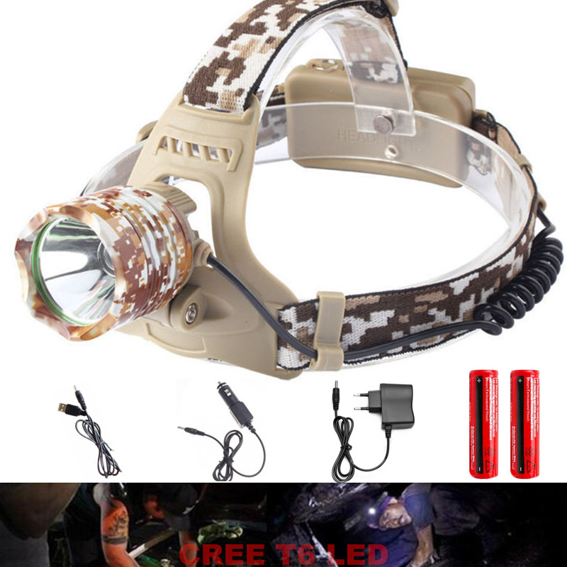 CREE XM L T6 3800 Lumens Rechargeable Headlamp Head light flashlight headlamp miner's lamp The Headlamp mining lamp accent light(China (Mainland))