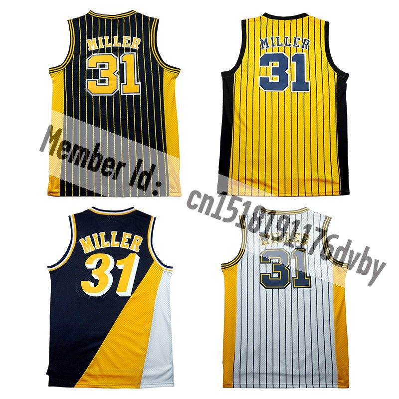 Throwback Mesh 31# Reggie Miller jerseys Retro George#13 Stitched Basketball jersey sales Embroidery Logos fast Free shipping(China (Mainland))